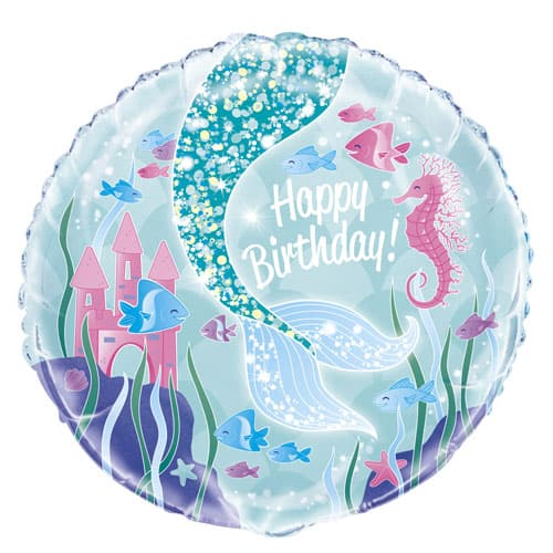 Mermaid Happy Birthday Round Foil Helium Balloon 46cm / 18Inch Product Image