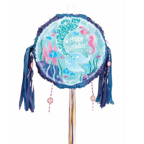 Mermaid Happy Birthday Pull String Pinata Product Image