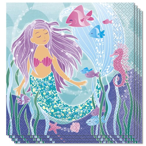 Mermaid Luncheon Napkins 33cm - 2Ply Pack Of 16