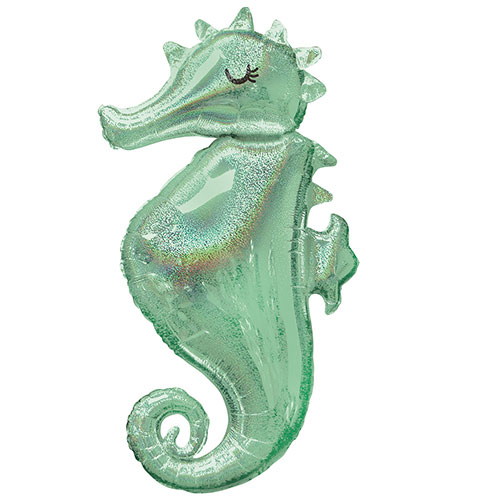 Mermaid Wishes Holographic Seahorse Helium Foil Giant Balloon 96cm / 38 in Product Image