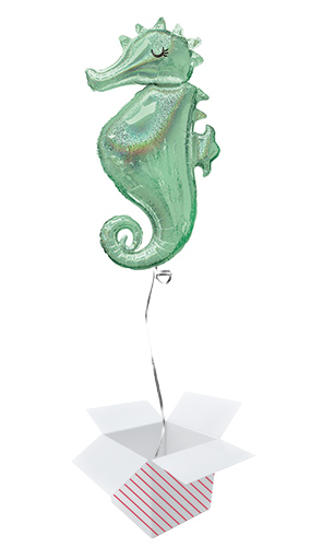 Mermaid Wishes Seahorse Helium Foil Giant Balloon - Inflated Balloon in a Box