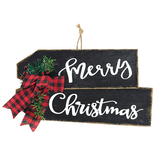 Merry Christmas Deluxe MDF Sign With Embellishments Hanging Decoration Product Image