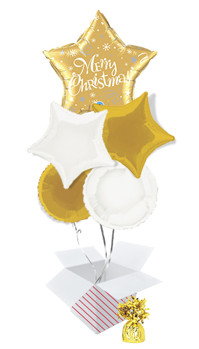 Merry Christmas Festive Gold Star Balloon Bouquet - 5 Inflated Balloons In A Box Product Image