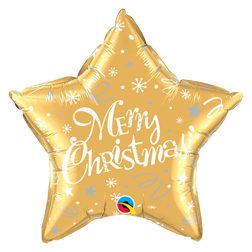 Merry Christmas Festive Gold Star Foil Helium Qualatex Balloon 51cm / 20 in Product Image