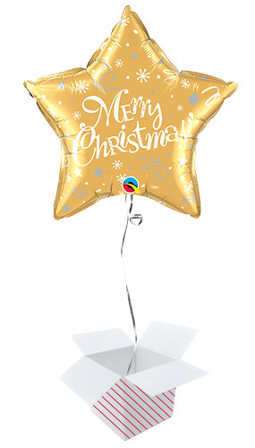 Merry Christmas Festive Gold Star Foil Helium Qualatex Balloon - Inflated Balloon in a Box Product Image