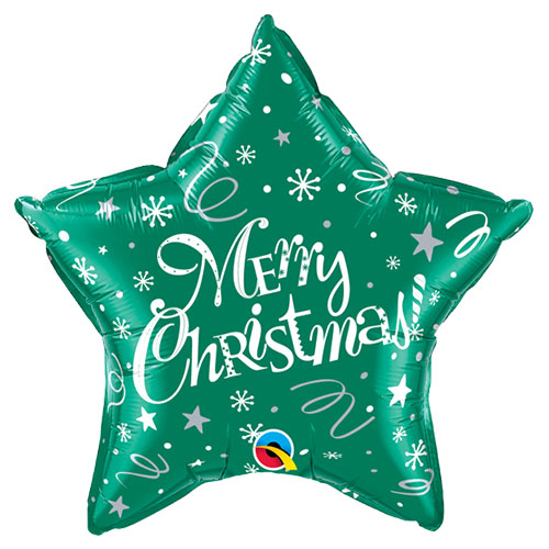 Merry Christmas Festive Green Star Foil Helium Qualatex Balloon 51cm / 20 in Product Image