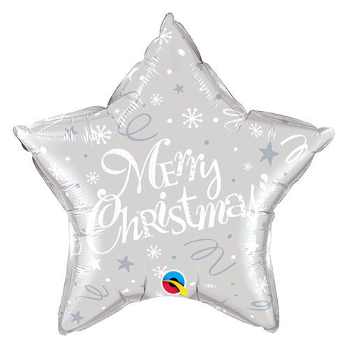 Merry Christmas Festive Silver Star Foil Helium Qualatex Balloon 51cm / 20 in Product Image