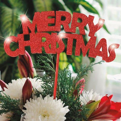 Merry Christmas Flashing Glitter Pick Decoration 20cm Product Image