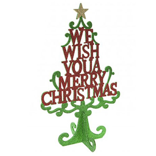 Glitter Christmas Tree Text Standing Decoration 35cm Product Image