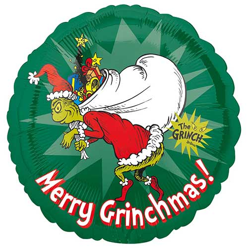 Merry Christmas Grinch Round Foil Helium Balloon 43cm / 17 in Product Gallery Image