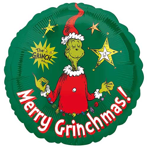 Merry Christmas Grinch Round Foil Helium Balloon 43cm / 17 in Product Image