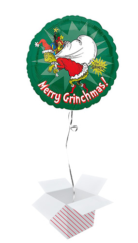 Merry Christmas Grinch Round Foil Helium Balloon - Inflated Balloon in a Box Product Gallery Image
