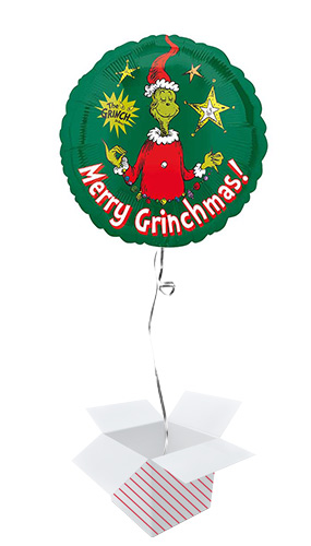 Merry Christmas Grinch Round Foil Helium Balloon - Inflated Balloon in a Box Product Image