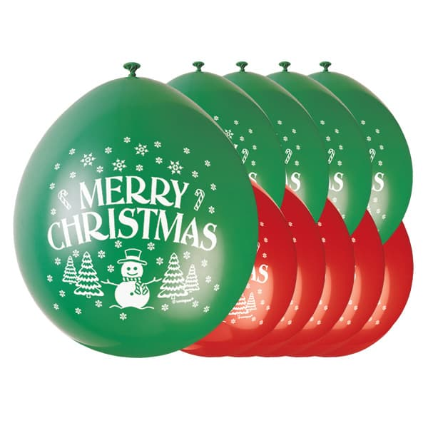 Merry Christmas Biodegradable Latex Balloons - 9 Inches / 23cm - Pack of 10