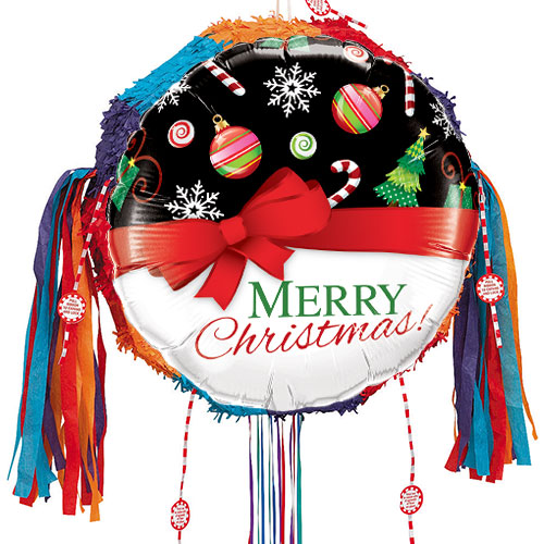 Merry Christmas Red Bow Pull String Pinata