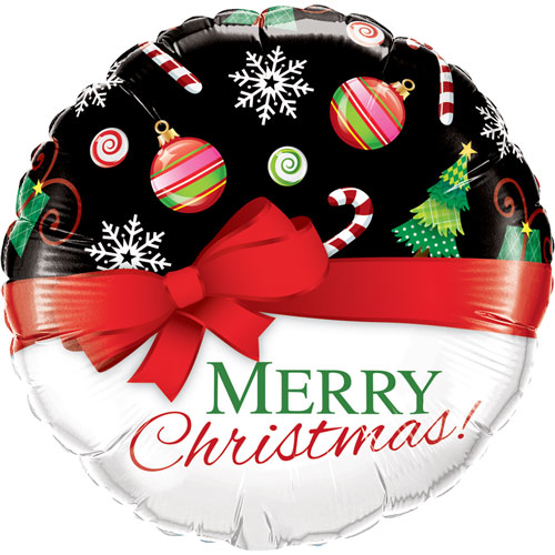 Merry Christmas Red Bow Round Foil Helium Qualatex Balloon 46cm / 18Inch Product Image