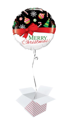 Merry Christmas Red Bow Round Foil Helium Qualatex Balloon - Inflated Balloon in a Box Product Image