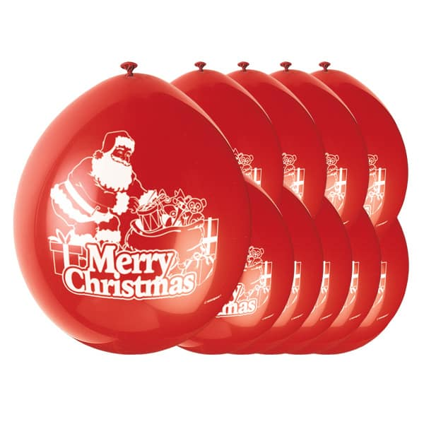 Merry Christmas Santa Biodegradable Latex Balloons - 9 Inches / 23cm - Pack of 10 Bundle Product Image