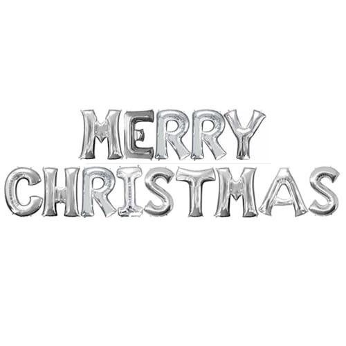 Silver MERRY CHRISTMAS Small Air Fill Balloon Kit Product Image