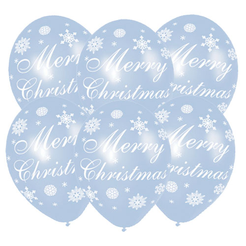 Merry Christmas Snowflakes Assorted Latex Balloons 28cm / 11 in – Pack of 6 Product Image