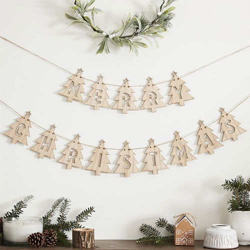 Merry Christmas Tree Shape Wooden Bunting 3.5m