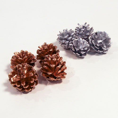 Assorted Metallic Pine Cones Christmas Decorations - Pack of 12