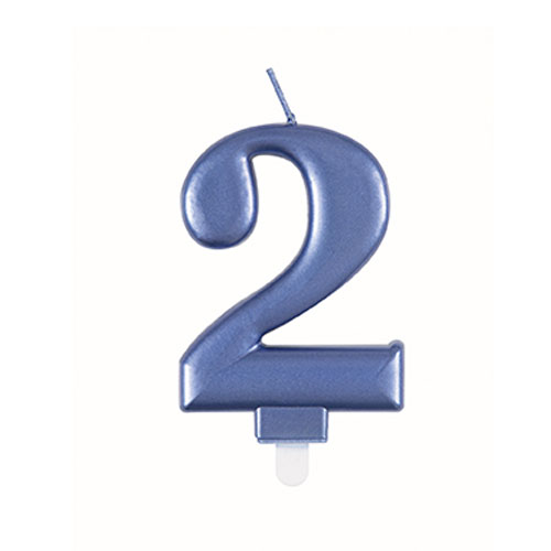 Metallic Steel Blue Number 2 Birthday Candle 9cm Product Image