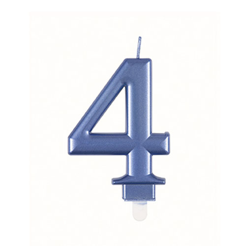 Metallic Steel Blue Number 4 Birthday Candle 9cm Product Image