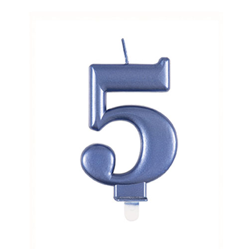 Metallic Steel Blue Number 5 Birthday Candle 9cm