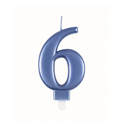 Metallic Steel Blue Number 6 Birthday Candle 9cm Product Image