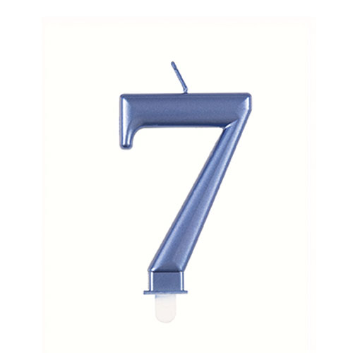 Metallic Steel Blue Number 7 Birthday Candle 9cm Product Image