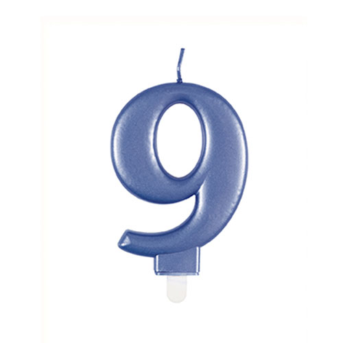 Metallic Steel Blue Number 9 Birthday Candle 9cm Product Image