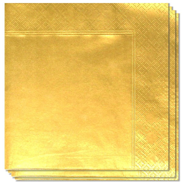 Metallic Gold 2 Ply Napkins - 33cm - Pack of 100