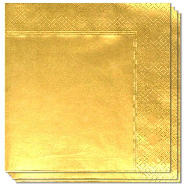 Metallic Gold 2 Ply Napkins - 40cm - Pack of 100
