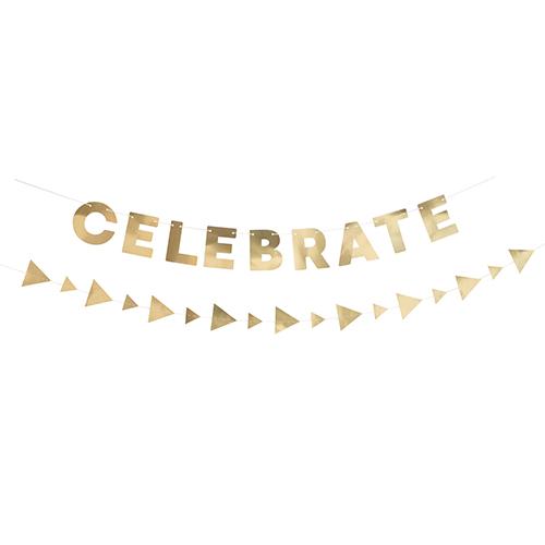 Metallic Gold Celebrate Paper Garlands Hanging Decorations Set Product Image