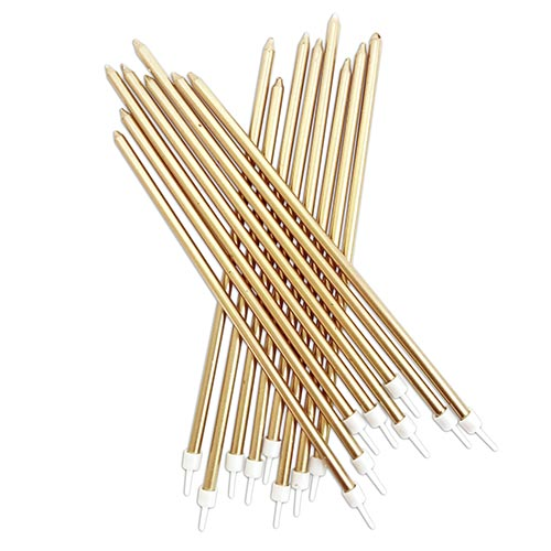 Metallic Gold Extra Tall Cake Candles With Holders 18cm - Pack of 16 Product Image