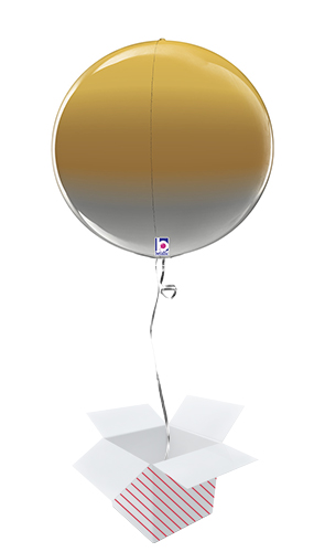 Metallic Gold Ombre 4D Globe Foil Helium Balloon - Inflated Balloon in a Box Product Image