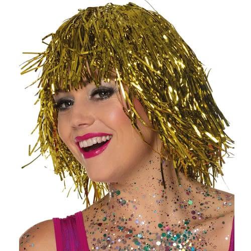 Metallic Gold Tinsel Wig Product Image