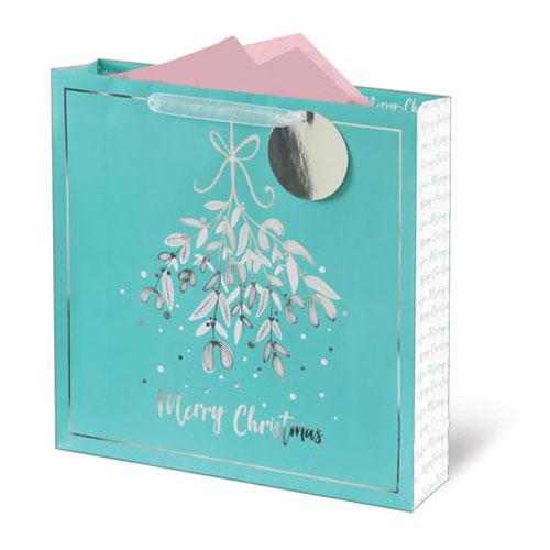 Metallic Mistletoe Christmas Large Square Gift Bag 33cm
