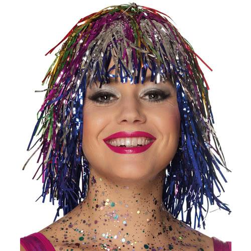 Metallic Multicolour Tinsel Wig