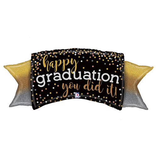 Metallic Ombre Graduation Holographic Banner Helium Foil Giant Balloon 117cm / 46 in Product Image