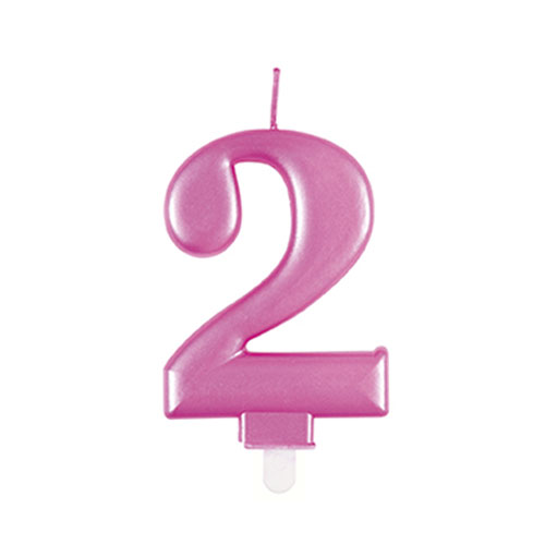 Metallic Pink Number 2 Birthday Candle 9cm Product Image