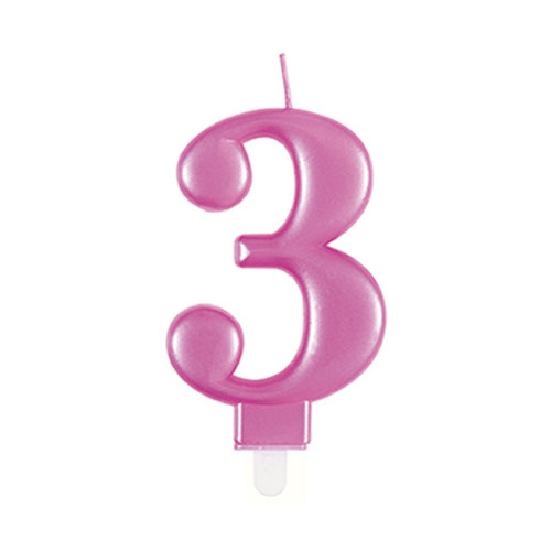 Metallic Pink Number 3 Birthday Candle 9cm