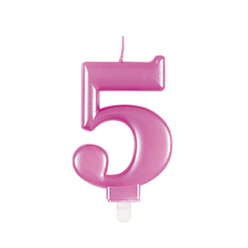 Metallic Pink Number 5 Birthday Candle 9cm Product Image