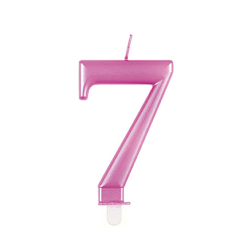 Metallic Pink Number 7 Birthday Candle 9cm Product Image