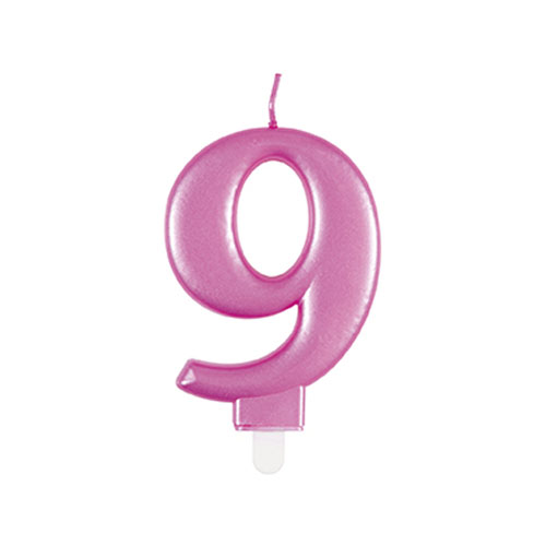 Metallic Pink Number 9 Birthday Candle 9cm Product Image