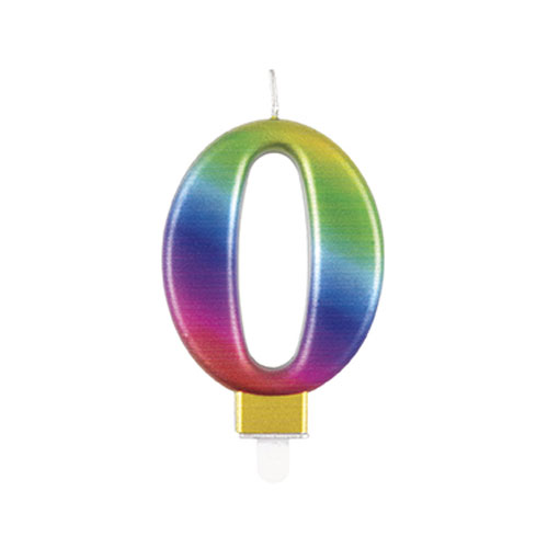 Metallic Rainbow Number 0 Birthday Candle 9cm