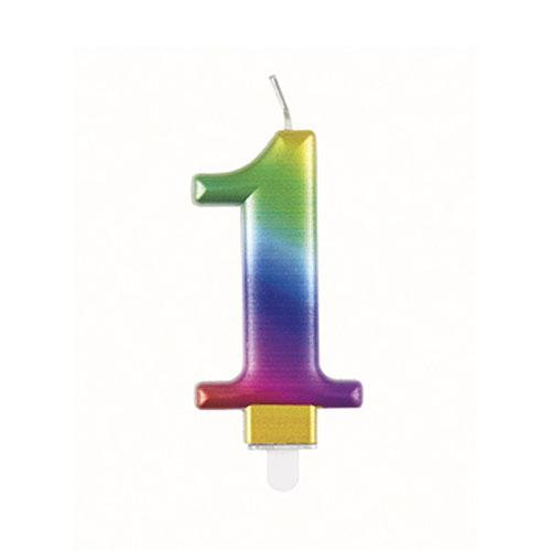 Metallic Rainbow Number 1 Birthday Candle 9cm