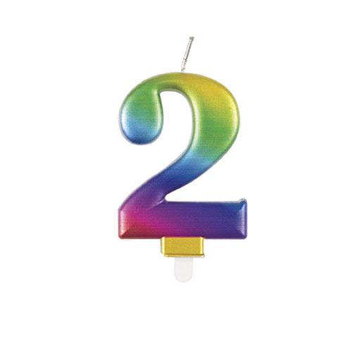 Metallic Rainbow Number 2 Birthday Candle 9cm