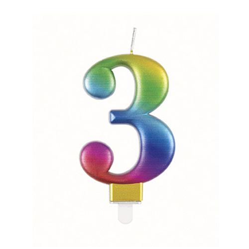 Metallic Rainbow Number 3 Birthday Candle 9cm